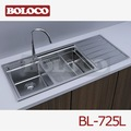 Hot vender r19 itália design em aço inox pia da cozinha bl-725r