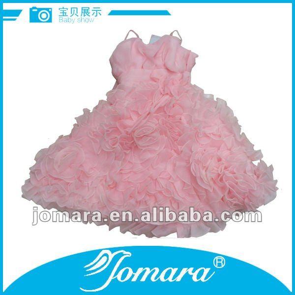 Cumpleaños de las niñas vestidos de fiesta, de color rosa bebé niñas vestido de noche