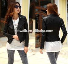 0836063 China Wholesale Fashion PU Leather Jackets Ladies Leather Jacket Women Hot Selling Jacket in 2014