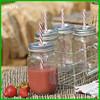 16oz factory clear juice beverage embossed mason juice beverage jam bulk glass jar with straw wholesale