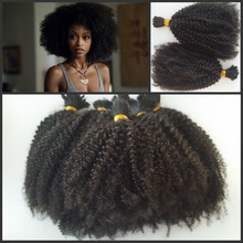 High quality 100 human afro kinky curly 4b/4c brazilian virgin remy bulk hair for braiding