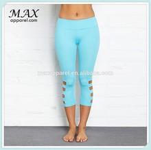Cutout active capri custom fitness wear leg opening gym leggings for women