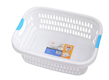 2014 BM9 White Plastic Laundry Basket with Colorful Handles