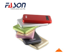 6000mah colorful Aluminium portable battery charger,LCD display power banks with touching button