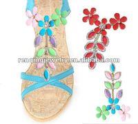 2013 light mixed color lady sandal shoe chain shoe flower rhinestone accessory