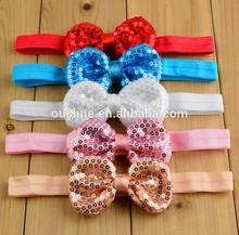 wholesale sequin elastic big bow headband , new baby knot headband