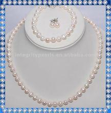 fashion fresh water silver pearl jewelry set