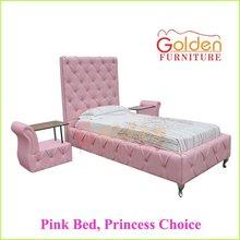 high headbord princess bed with crystal pink bed frame