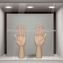 Wood mannequin male hands adjustable finger wood hand model