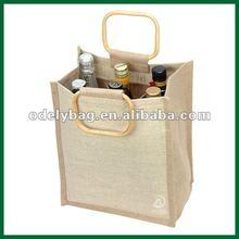 New designer felt packing bag for wine with wooden handle