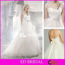 Wholesale Wedding Dresses Sweetheart Sheer Tulle V Neck Ball Gown with Beaded Belt