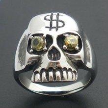 Dinero muestra del cráneo anillos de acero inoxidable médico del negocio de la joyería