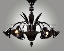 Modern black glass chandelier lighting