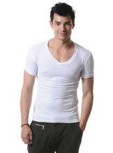 V neck white cotton cheap men t shirt