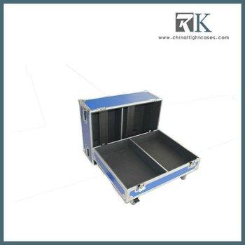 Blue Speaker Rack Flight Case, with casters, foam inside