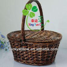 elegrant oval brown wicker storage basket with 2 lids& high handle
