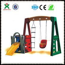 2013 Safe EU Standard mutifunctional playground plastic swing and slide/indoor QX-11120A