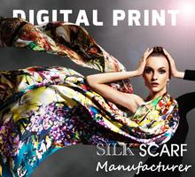 100% Silk Satin Fabric Digital Print Silk Scarf Silk Scarves W8211