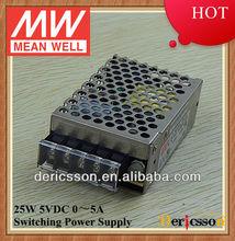MW 25W SMPS 5V 5A LED Driver UL/cUL RS-25-5
