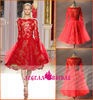 Style R123101 Long Sleeves Sheer Appliqued Red Knee Length Zuhair Murad Fashion Dress