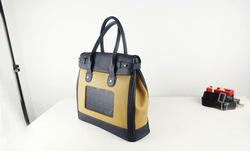 Solar black Leather Luggage Tag Business Bag