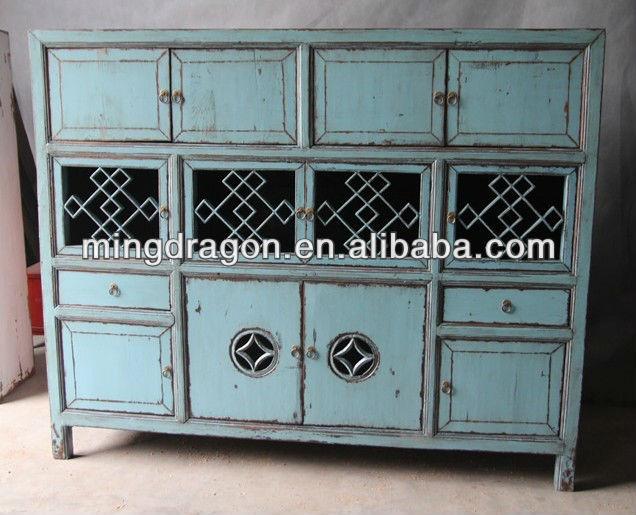 Antiques chinois de reproduction bleu d 39 armoires de for Meuble chinois bleu