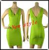 New fashion style green V neck and V back plus size bandage cocktail dresses 2014