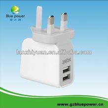 2013 Wholesale Alibaba UK/US/EU Stander 2.1A Dual USB port travel charger
