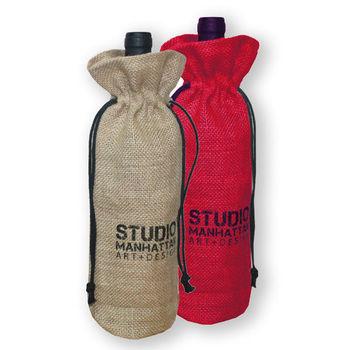 rustic burlap single jute wine bag,hessian burlap wine bottle bag