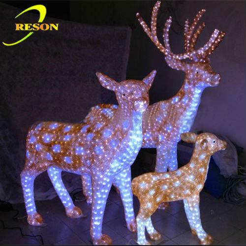 enfeites jardim natal:jardim decoração 3d acrílico deer família led enfeite de natal