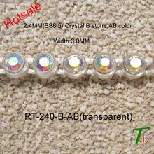 Transparent plastic base AB color plastic rhinestone trims for MINI skirt (RT-240-B-AB)