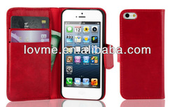 Highe quality wallet card holder Leather Case For Apple iPhone5 New iPhone