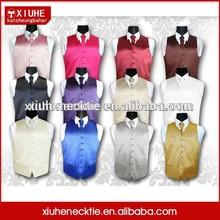 Colorful Solid Poly Satin Plain Fashion Suit vest and tie set