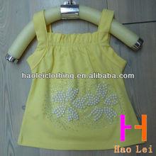 kids clothes kids vest yellow sleeveless pearl/rhinestone vest for girls