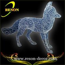 H:60cm Silver dog metal wire animal sculpture