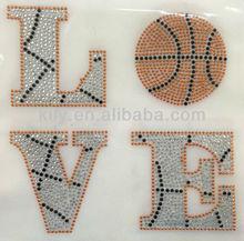 2015 new Love basketball hot fix rhinestone transfer trimming