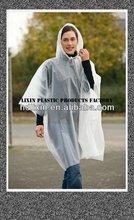 PEVA raincoat poncho/PEVA rain coat.