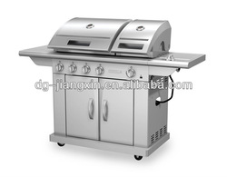 Split lid SS gas bbq grill with side burner