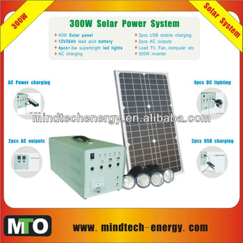 solar power system for 4pcs*3w superbright led lights