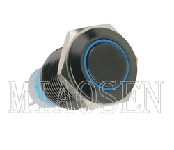16mm Black blue ring illuminated push button switch