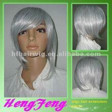 Synthetic gray stright women custome short wigs gray stright custome wigs