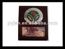 Pintura verde logotipo personalizado de madera premio trofeo placa