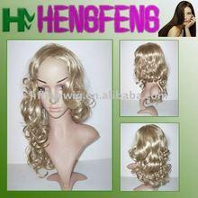 Kanekalon blonde hair natural wig-women fashion wig blonde curly hair wig