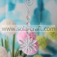 Select 18CM Transparent Plastic Crystal Octagon Flower Holiday Beading Prism Parts for Strands DIY50PCS