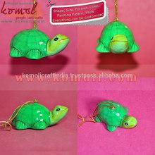 Handpainted Decoration Paper Mache Green Tortoise Holiday Decoration