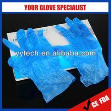 Disposable powdered/powdered free blue vinyl gloves