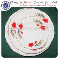 Wholesale Cheap Porcelain Cut Edge Soup/ Trim Silver Rim Yellow Line/Dessert Plates & Dishes sets with flower & Gold
