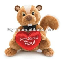 super soft and cuddly plush squirrel with heart stuffed toys