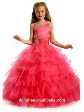Long Wool warm Red high quality Layered Girls' Wedding Dresses 2014