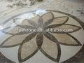 Pedra de mármore do jato de água medalhão& fronteira, mármore piso de carpete tapete&